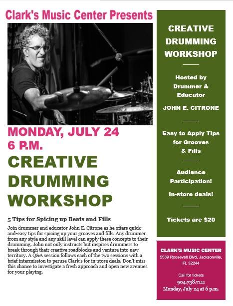 Creative Drumming Workshop with John Citrone